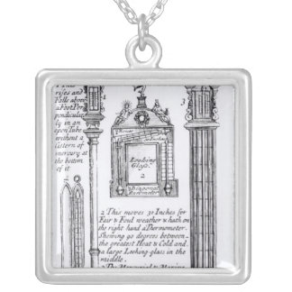 Annotated Illustration of Pendent, Diagonal Silver Plated Necklace