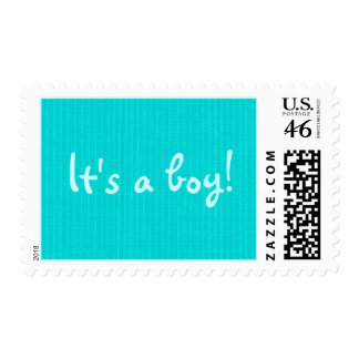 Announce It's a boy! aqua blue stripes baby stamps