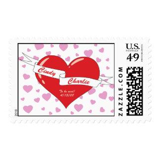 announce wedding heart & Banner Stamp