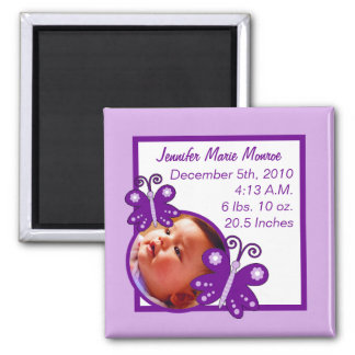 Announcement Magnet Purple Spring Time Butterfly