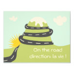 "Announcement of birth ""one the road"" express road 4.25"" x 5.5"" invitation card"