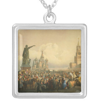 Announcement of Coronation Day by Vasily Timm 1856 Square Pendant Necklace