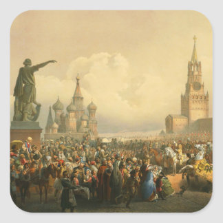 Announcement of Coronation Day by Vasily Timm 1856 Square Sticker