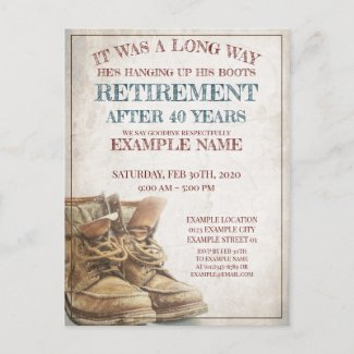 Announcement of retirement with old boots