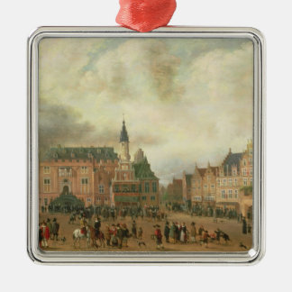 Announcement of the Peace of Breda Square Metal Christmas Ornament