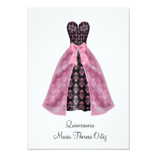 Announcement Quinceanera Pink Damask 15th Party