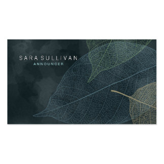 Announcer Business Card Grunge Leaf Veins