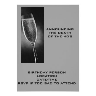 "ANNOUNCING THE DEATH OF THE 40'S INVITE 5"" X 7"" INVITATION CARD"