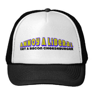 Annoy A Liberal: Eat A Bacon Cheeseburger! Mesh Hats