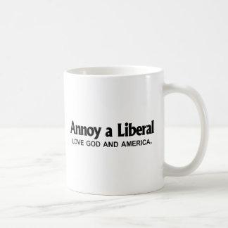 Annoy a Liberal - Love God and America Coffee Mug