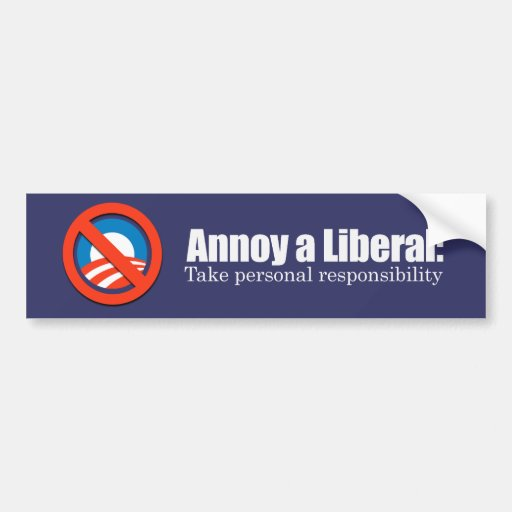 Annoy a Liberal - Take Responsibility Bumpersticke Bumper Stickers