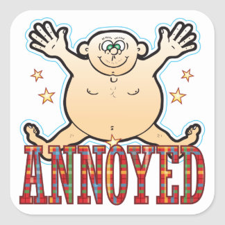 Annoyed Fat Man Square Sticker