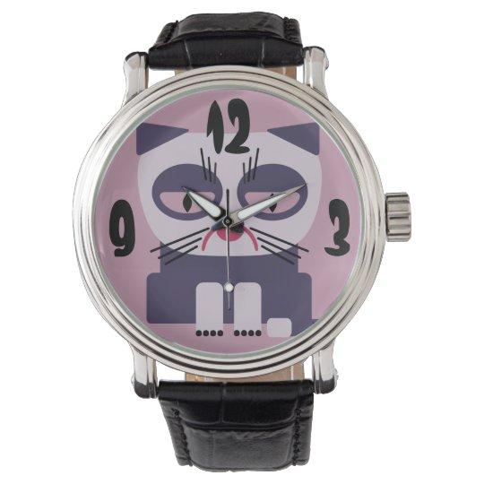 annoyed grumpy looking cat wristwatch