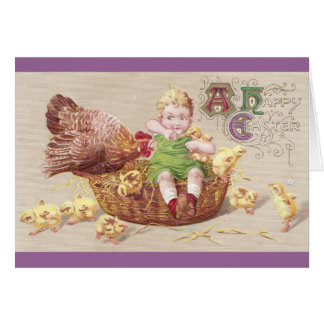 Annoyed Hen Naughty Child Vintage Easter Card