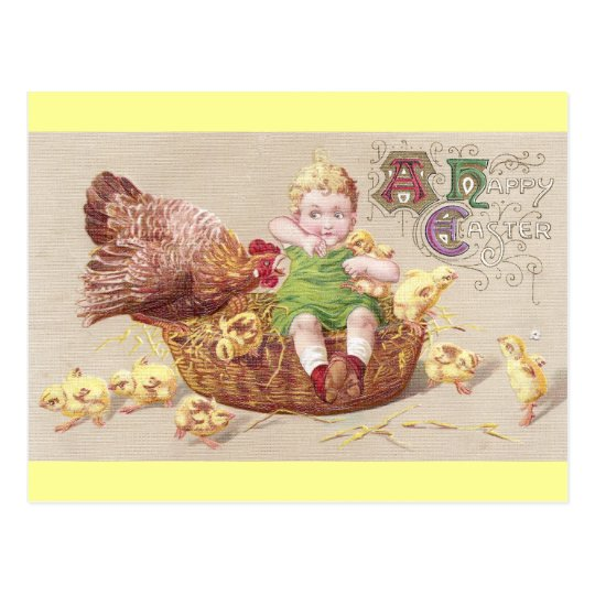 Annoyed Hen & Naughty Child Vintage Easter Card