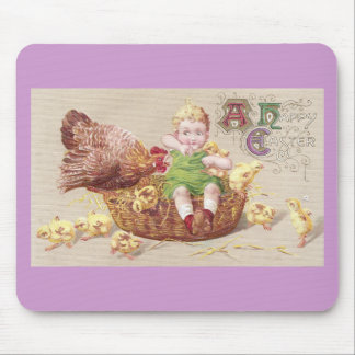 Annoyed Hen & Naughty Child Vintage Easter Card Mouse Pad