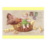 Annoyed Hen & Naughty Child Vintage Easter Card Post Card
