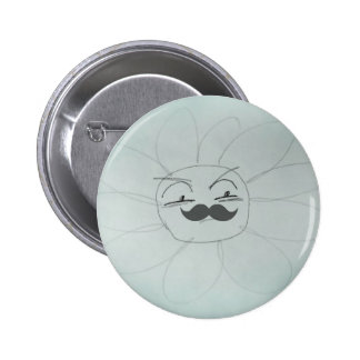 Annoyed Mr Daisy Mustache Funny Doodle 2 Inch Round Button