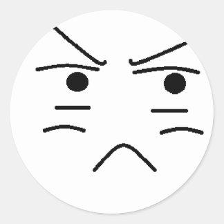 Annoyed Smiley Classic Round Sticker