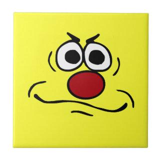Annoyed Smiley Face Grumpey Ceramic Tile