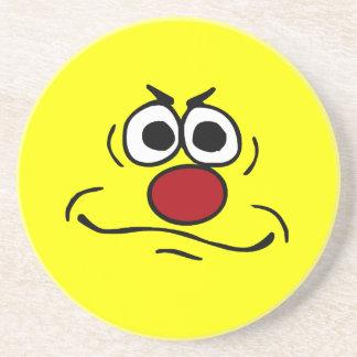 Annoyed Smiley Face Grumpey Coaster