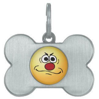 Annoyed Smiley Face Grumpey Pet ID Tag