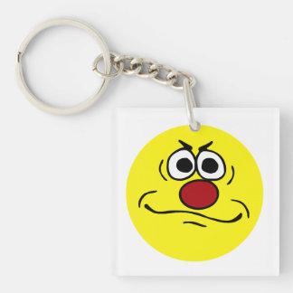 Annoyed Smiley Face Grumpey Single-Sided Square Acrylic Keychain