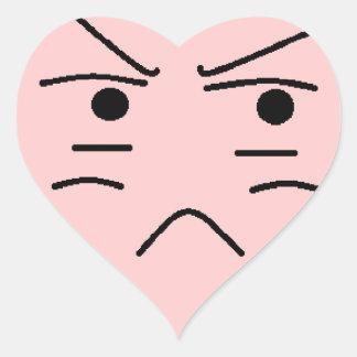 Annoyed Smiley Heart Sticker