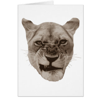 Annoyed Snarling Lion Cat Card