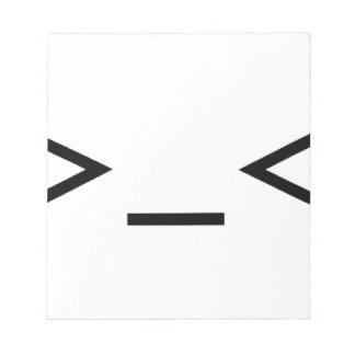 Annoyed / Troubled emoticon >_< Notepad