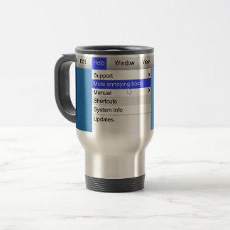 Annoying boss concept. travel mug