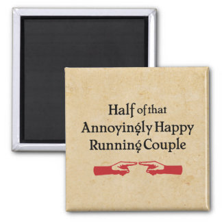 Annoying Running Couple 2 Inch Square Magnet