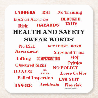 Annoyingly Funny Joke Health & Safety Swear Words Square Paper Coaster