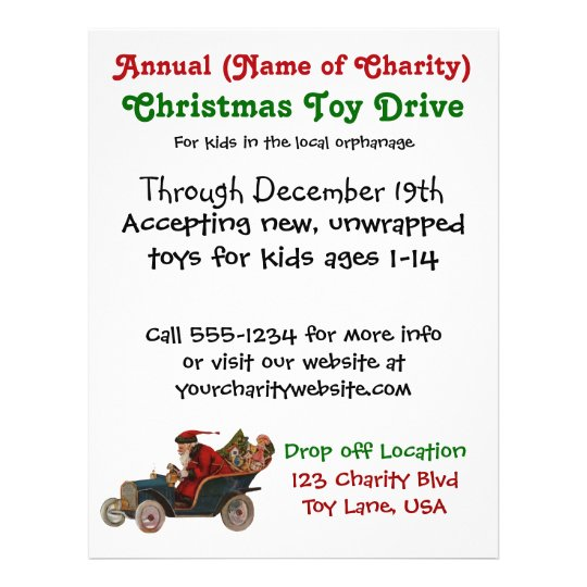 annual christmas toy drive charity santa claus flyer