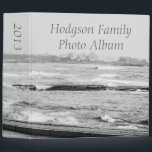 """Annual Family Photo Album Binder<br><div class=""""desc"""">A home for your years worth of family photographs - Annual Family Photo Album created using a seascape black and white panorama and an Avery Binder.</div>"""