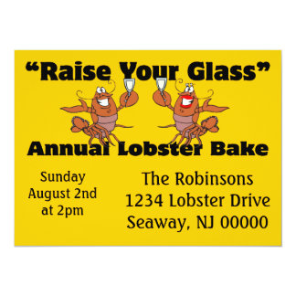 Annual Lobster Bake Toasting Lobsters Card