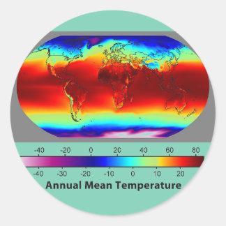 Annual mean temperature around classic round sticker