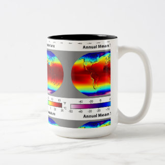 Annual mean temperature around Two-Tone coffee mug