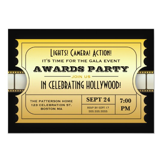 Annual Movie Awards Party Golden Ticket Card  Gala Invitation Template