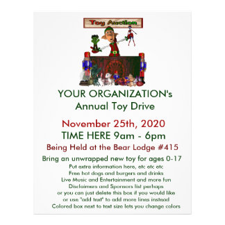 """Annual Toy Drive Flier with cute elf  toy auction 8.5"""" X 11"""" Flyer"""