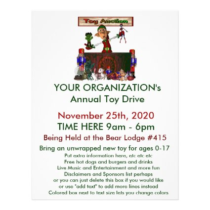 Annual Toy Drive Flier with cute elf toy auction Personalized Flyer