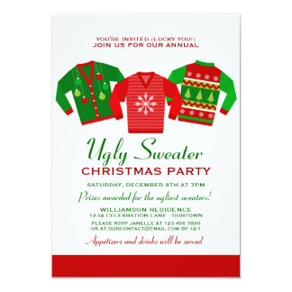 Annual Ugly Sweater Christmas Party 5x7 Paper Invitation Card