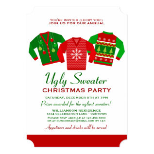 Annual Ugly Sweater Christmas Party Invitation at Zazzle