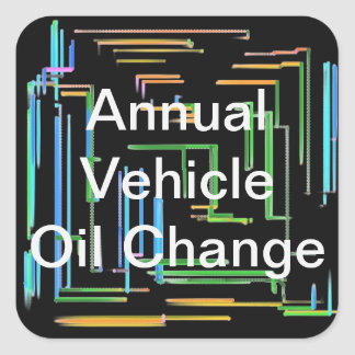 Annual Vehicle Oil Change Square Sticker