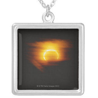 Annular Eclipse Silver Plated Necklace