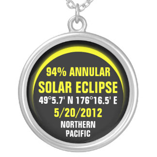 Annular Solar Eclipse 5/20/2012 Round Pendant Necklace