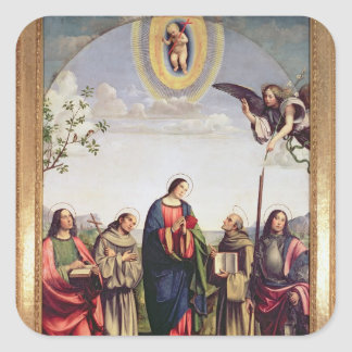 Annunciation and Saints, 1500 Square Sticker