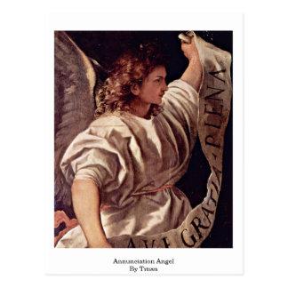 Annunciation Angel By Titian Postcard