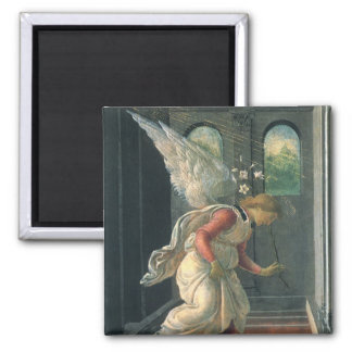 Annunciation (angel detail) by Sandro Botticelli 2 Inch Square Magnet