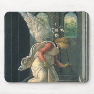 Annunciation (angel detail) by Sandro Botticelli Mouse Pad
